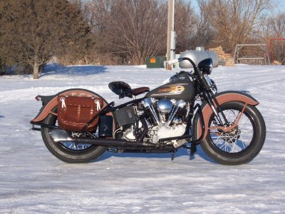 1937 Harley-Davidson Knuckelhead Outside In Snow